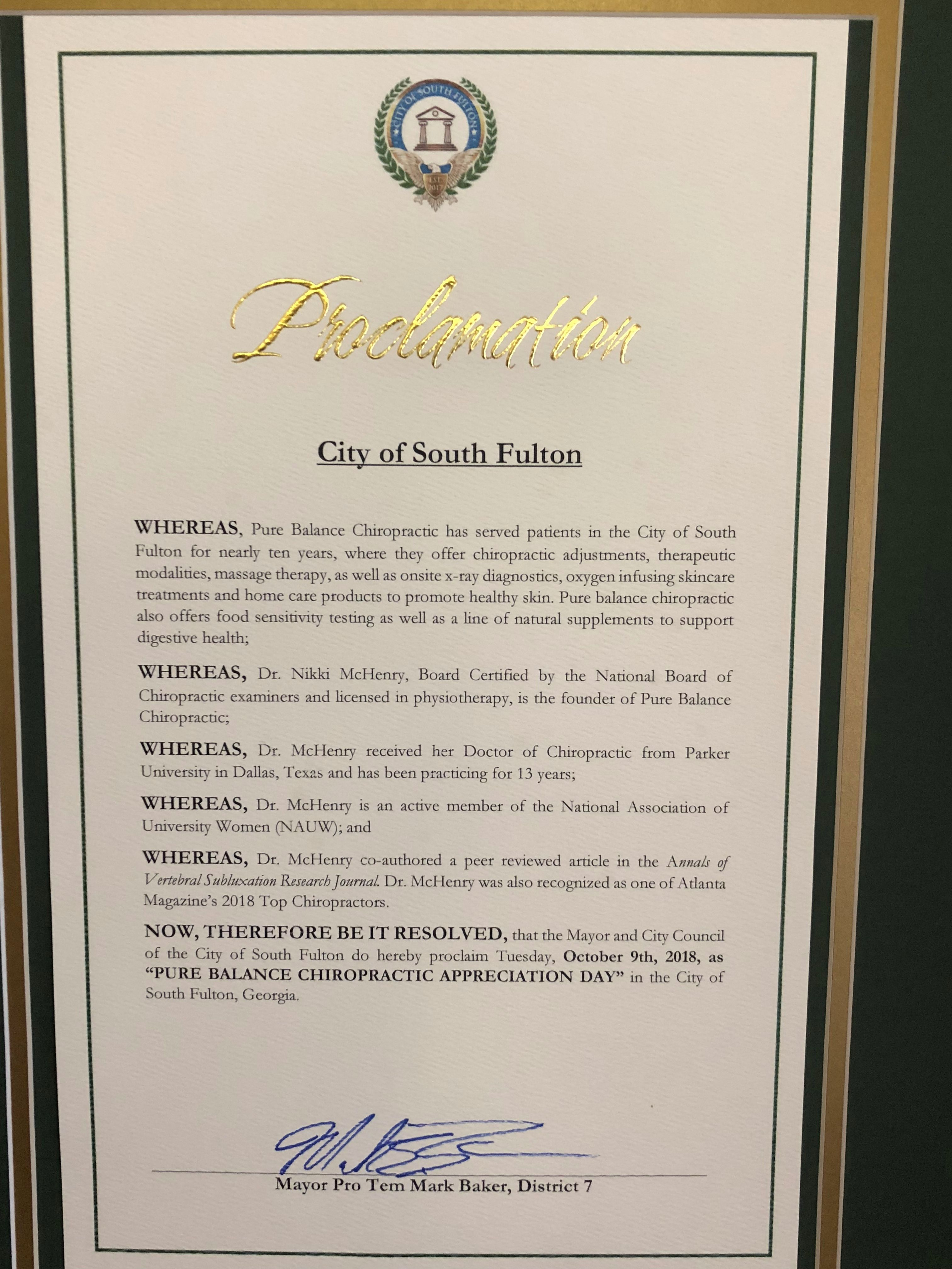 Dr. Nikki McHenry Proclamation